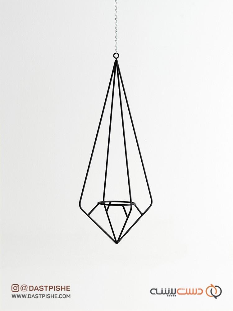 آویز فلزی گلدان طرح هندسی
